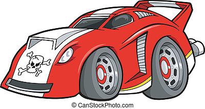 voiture, vecteur, rue, course, illustration