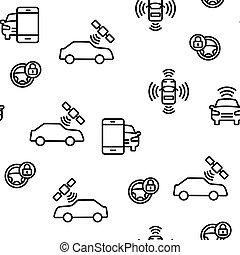 voiture, vecteur, seamless, intelligent, modèle