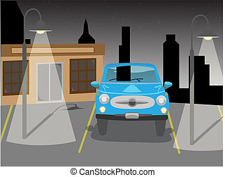 voiture, vecteur, stationnement, nuit
