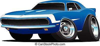 voiture, vecteur, tige, classique, années soixante, chaud, américain, style, dessin animé, muscle, illustration