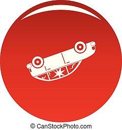 voiture, vecteur, tourné, rouges, icône