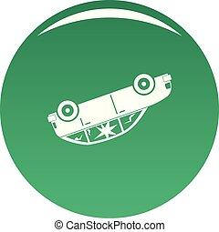 voiture, vecteur, tourné, vert, icône