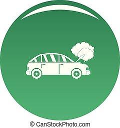 voiture, vecteur, vert, fumée, icône