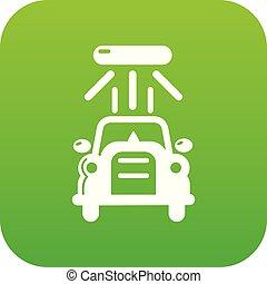 voiture, vecteur, vert, laver, icône