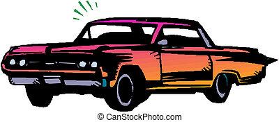 voiture, vendange, illustration