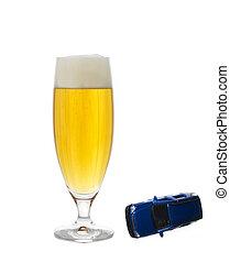voiture, verre bière