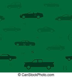 voiture, vert, seamless, modèle