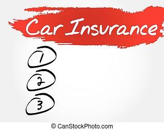 voiture, vide, assurance, liste
