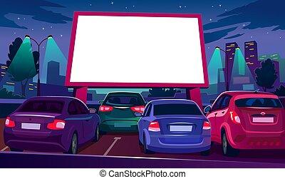 voiture, vide, dehors, cinéma, blanc écran