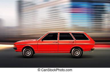 voiture, vieux, illustration, 3d