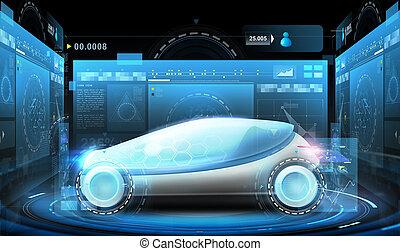 voiture, virtuel, écrans, concept, futuriste