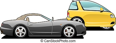 voiture, voiture., minuscule, sports