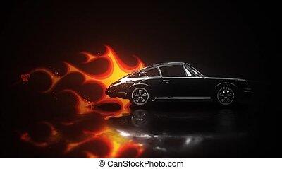 voiture, voiture, tige, chaud, vendange, garage, école,...