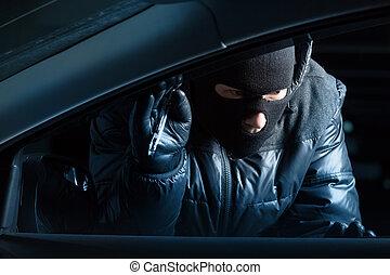 voiture, voleur, soir