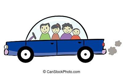 voiture, voyage famille, dessin animé