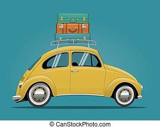 voiture, voyage, jaune