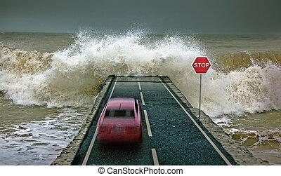 voiture, vs, vague