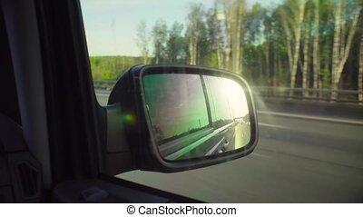 voiture, vue arrière, reflet, route, miroir