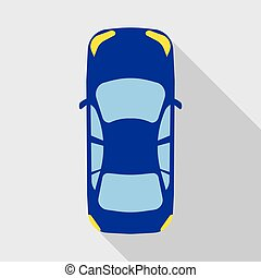 voiture, vue dessus, véhicule