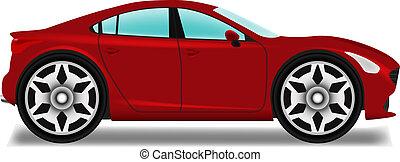 voiture, wheels., sedan., dessin animé, grand