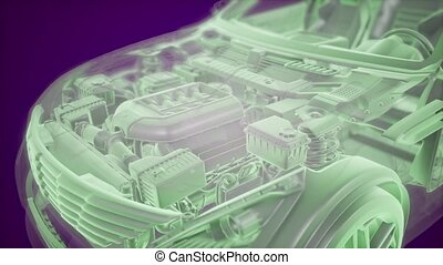voiture, wireframe, animation, holographic, 3d, modèle