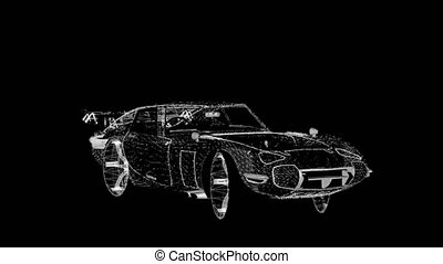 voiture, wireframe, tanimation, sports