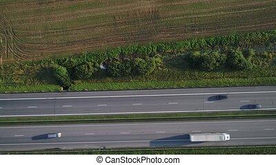 voitures, aller, aérien, autoroute, vue