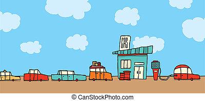 voitures, attente, station, essence, ligne