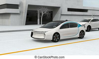 voitures, autonome, concept, connecté