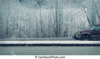 voitures, autoroute, camions, neigeux