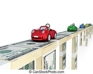 voitures, bridge., coloré, argent