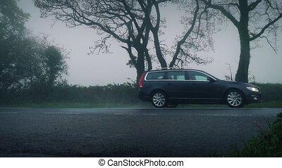 voitures, brouillard, route, pluie, rural