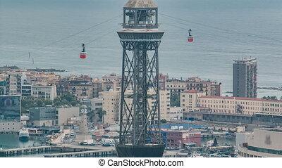 voitures câble, timelapse, port, barcelone, croisement, pylône