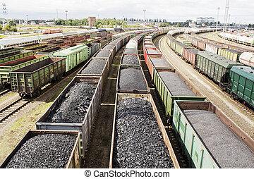 voitures, coal., rail, chargé
