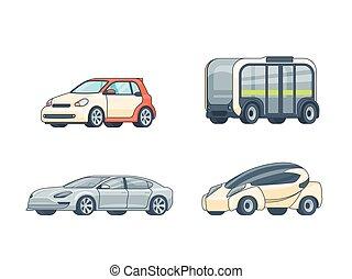 voitures, coloré, électrique, collection