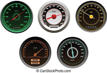 voitures, compteurs vitesse, ensemble, courses
