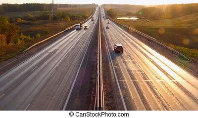voitures, coucher soleil, voyager, route, autoroute