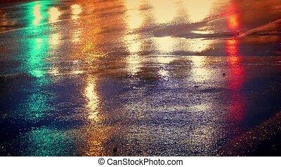 voitures, couleurs, briller, route, mouillé