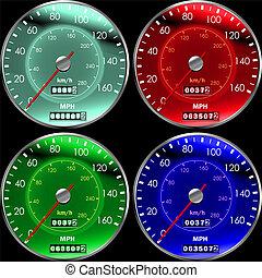 voitures, couleurs, compteurs vitesse, tableau bord, ou
