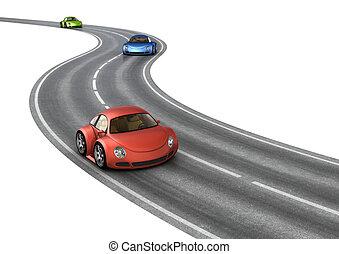 voitures, courses, trois