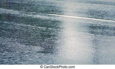 voitures, dépassement, closeup, pluie