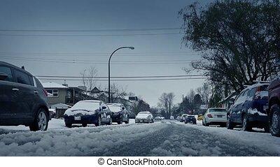 voitures, dépassement, hiver, route, neigeux