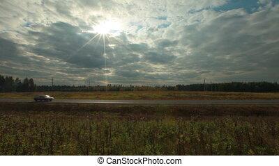 voitures, dépassement, vue, route, rural