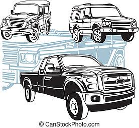 voitures, de-route, vecteur, -, set.