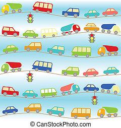 voitures, dessin animé, fond