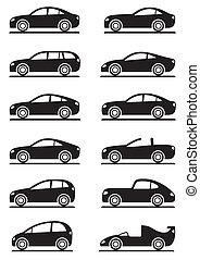voitures, différent, moderne