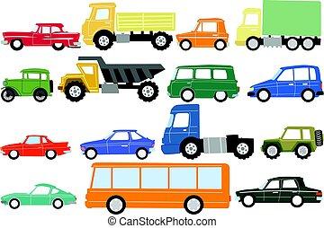 voitures, différent, types