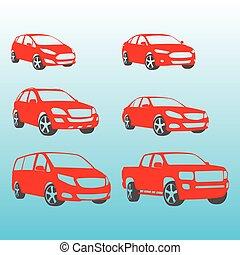 voitures, différent, vecteur, silhouettes, illustration