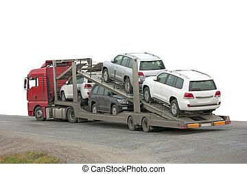 voitures, dos, transporteur, blanc, arrière-plan.