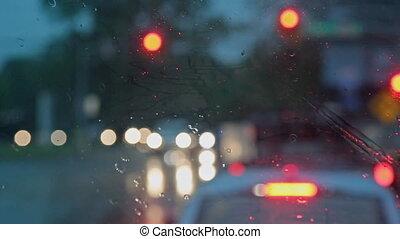 voitures, dur, pluie, foyer., sélectif, nuit, automne, flou